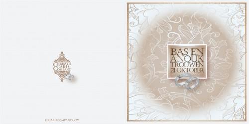 Trouwkaarten: Anouk Bas voor/achterzijde