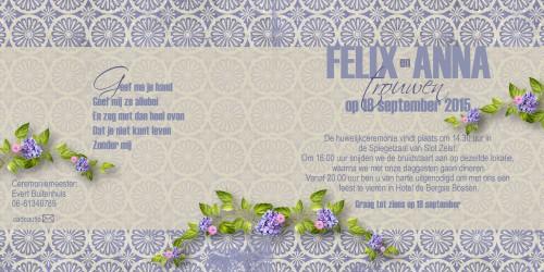 Trouwkaarten: Anna Felix binnenzijdes
