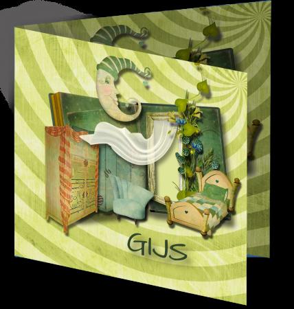 Geboortekaart Gijs 3D