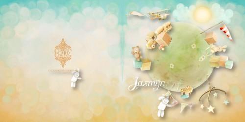 Geboortekaart Jasmijn voor/achterzijde