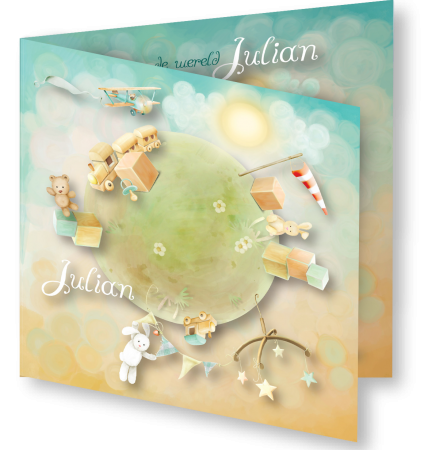 Geboortekaart Julian 3D