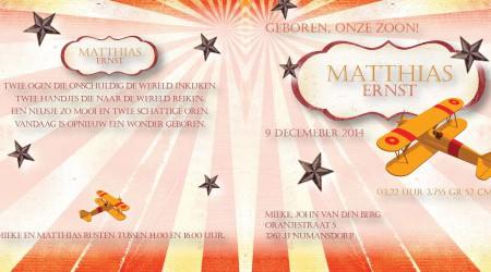 Geboortekaarten: Matthias binnenzijdes
