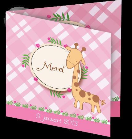 Geboortekaart Merel 3D