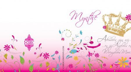 Geboortekaarten: Mynthe voor/achterzijde
