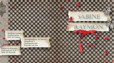 Trouwkaarten: Sabine Raymon voor/achterzijde