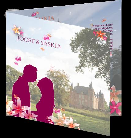 Trouwkaart Saskia Joost 3D