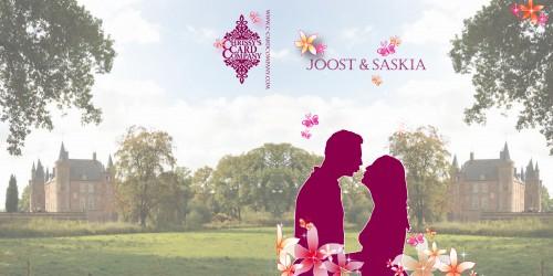 Trouwkaarten: Saskia Joost voor/achterzijde