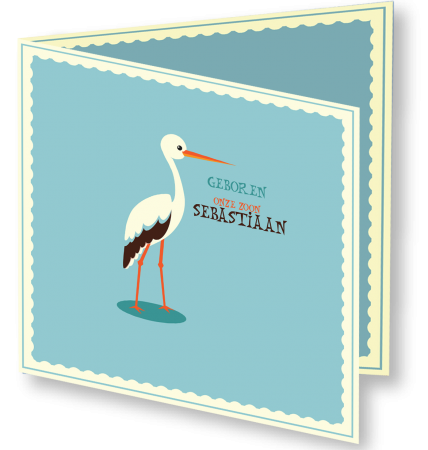 Geboortekaart Sebastiaan 3D