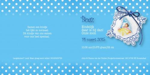 Geboortekaarten: Boaz binnenzijdes