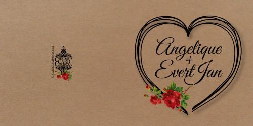 Trouwkaart Angelique Evert Jan voor/achterzijde
