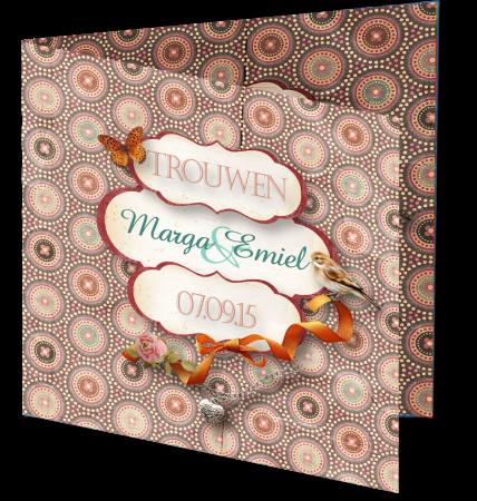 Trouwkaart Marga Emiel 3D